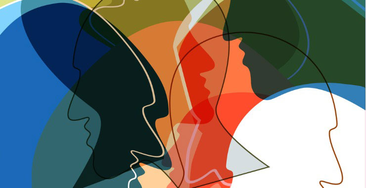 abstract drawing of colorful silhouettes of heads
