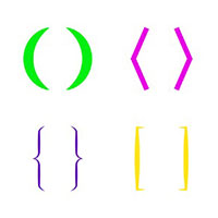 colorful illustration of parentheses and brackets