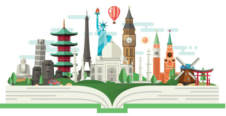 illustration of famous landmarks in world capital cities