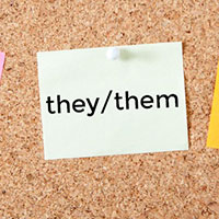 illustration of post-it notes displaying she/her, he/him, and they/them pronouns