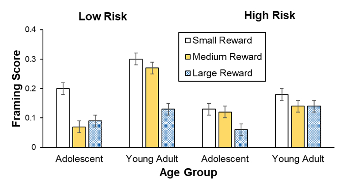 Sample bar graph showing framing scores for three levels of reward and four different age groups.
