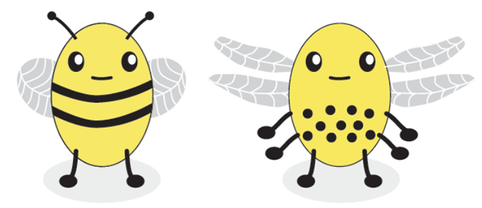 Two computer-generated cartoon bees, one with two legs, a striped body, single wings, and antennae, and the other with six legs, a spotted body, double wings, and no antennae.