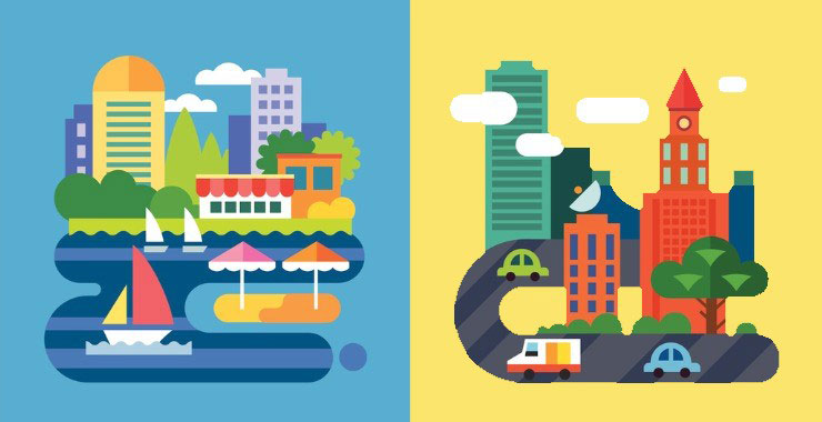 illustration of city buildings and transportation against blue and yellow background